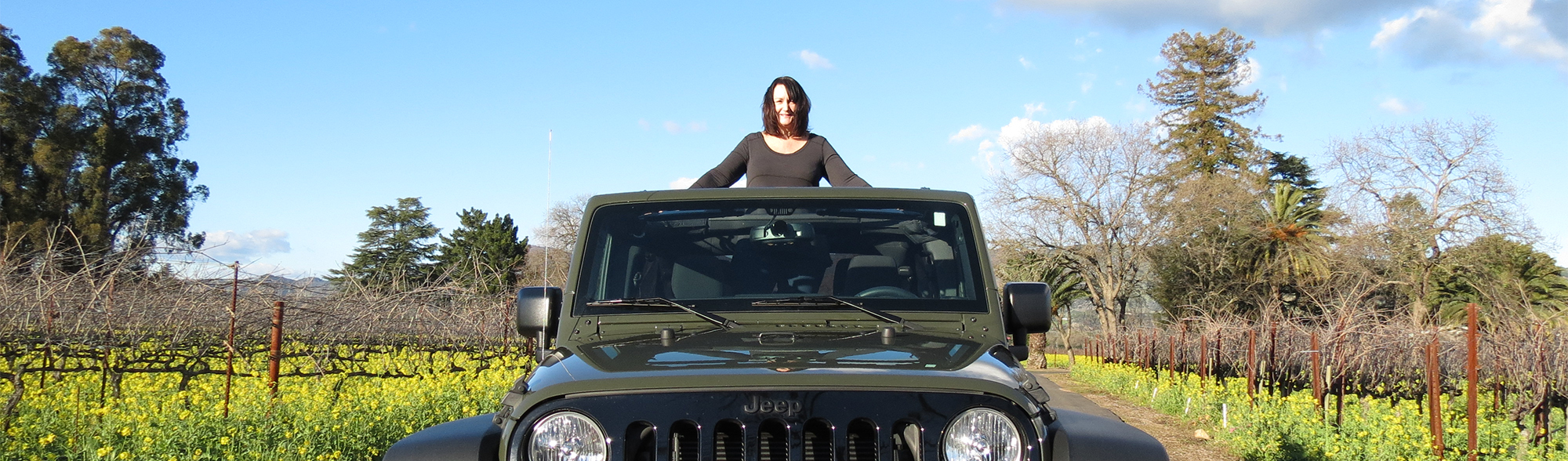 Julie in her jeep